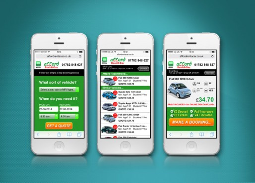 Afford Rent a car website design